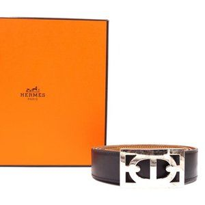 Hermès Boxed Chaine D'ancre Silver Reversible Belt
